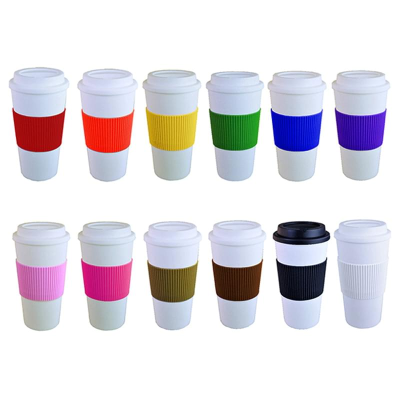 Brazilian -16 oz. Double Wall White Tumbler with Silicone Grip