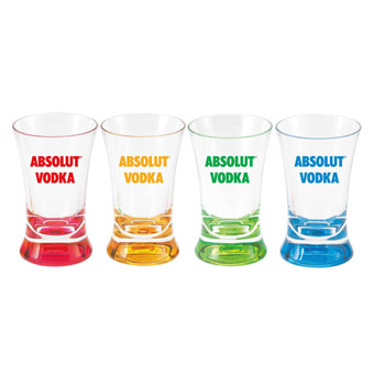 2 Oz. Cheers Glass - Acrylic shot glasses with colored base