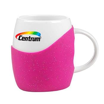 14 Oz. Rotunda white ceramic mug with colorful includes silicone grip