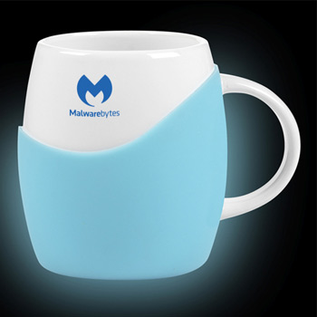 14 Oz. white ceramic Rotunda Mug with Glow in the Dark silicone grip
