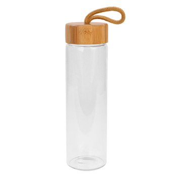 20 Oz. Botanical Glass Bottle With Bamboo Lid with handle