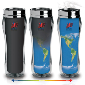 16 Oz. Eclipse Global World Map Double Wall Heat Changing Tumbler