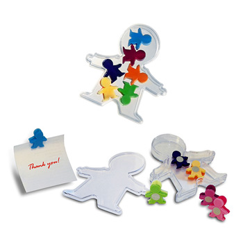 People Clips - Acrylic box with body shaped magnetic clips