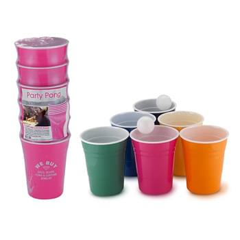 Party Pong Kit - 6 - 16 oz Single Wall cups and 2 ping pong balls