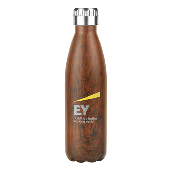 Serendipity 17 Oz. Wood Finish Vacuum Sealed Stainless Steel Bottle - WOOD, SILVER WOOD