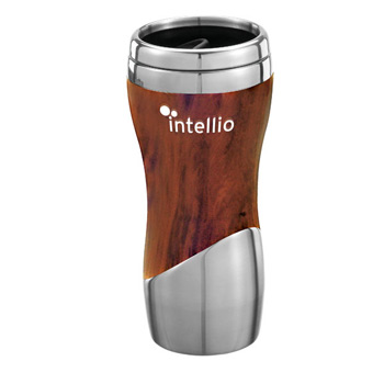St. Tropez - Stainless and faux ceramic wood 14 Oz. Tumbler