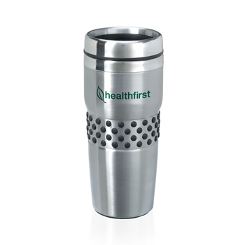 16 Oz. Stainless Steel Regency Tumbler with rubber dotted grip