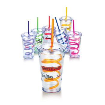 16 Oz Slurpy Double Wall Tumbler with Crazy Straw