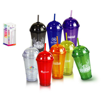 16 Oz Slurpy Double Wall Translucent Tumbler with dome lid