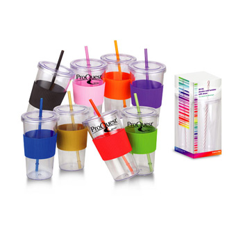 24 Oz Burpy Clear Single wall Tumbler with Silicone Grip